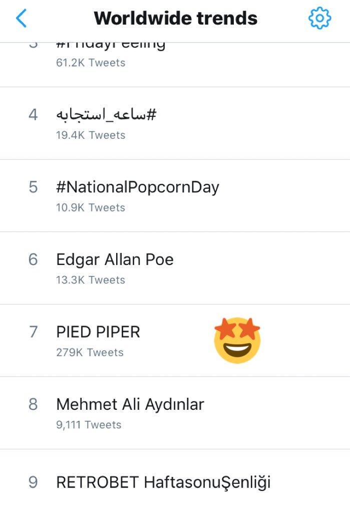 [🌏] PIED PIPER is trending worldwide! yo...