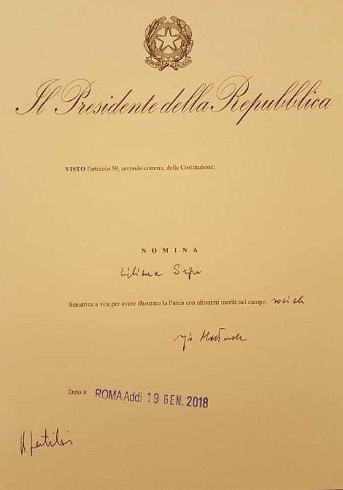 #LilianaSegre nominata Senatrice a vita...