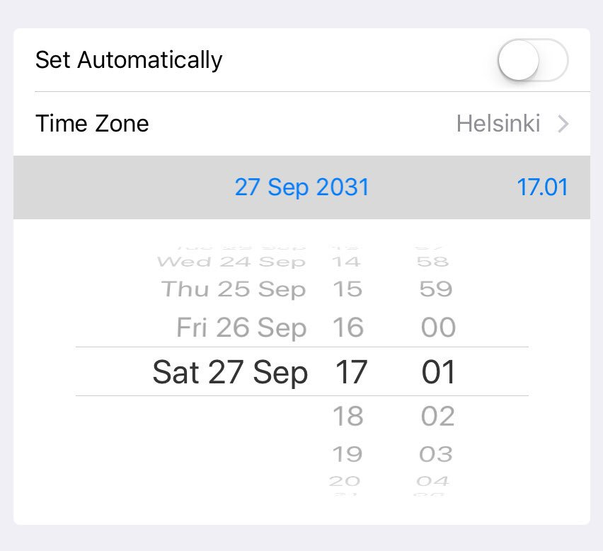 Earlier versions of iOS refused to set the system date beyond January 2038. Current versions already stop in September 2031. I wonder why?