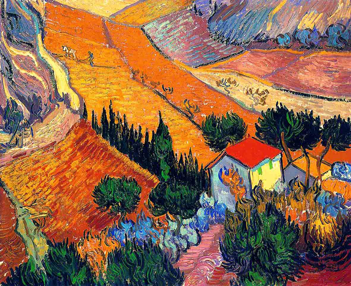 RT @literatura_rte: Landscape with House and Ploughman Vincent van Gogh Date: 1889 https://t.co/BNR32QLRtU