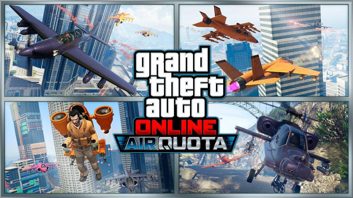 #GTAOnline Weekend Bonuses & Discounts •    DOUBLE GTA$/RP on the new AIR QUOTA mode •    25% OFF Facility Upgrades: Styles, Graphics & Security Room •    25% OFF the Buckingham Pyro Plane •    25% OFF the HVY Nightshark Weaponized Vehicle  https://t.co/2t2qlDgRXp