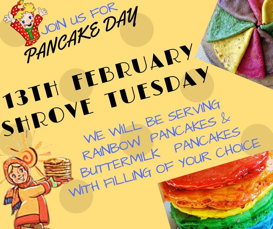 More #pancakes available on a #PancakeDay #13th #February We will be serving Rainbow #healthy #pancakes & Buttermilk #pancakes with filling of your choice Dont miss a chance to try ......