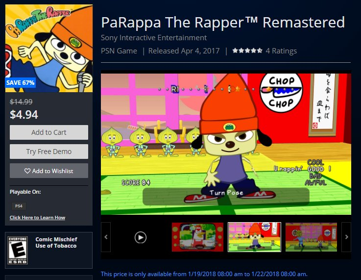 RT @Wario64: PaRappa The Rapper Remastered is $4.94 on US PSN https://t.co/3O62nGp5rG https://t.co/vu9z8dI72U