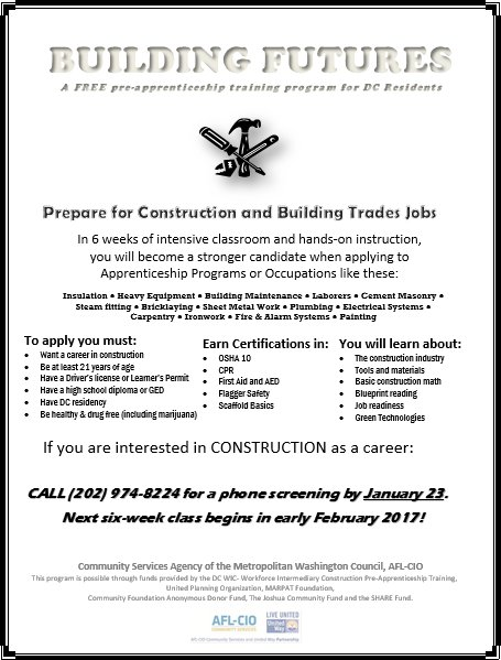 Cm silverman office on twitter deadline extended interested in interested in construction and building trades the next aflcio building futures pre apprenticeship training program starts in february malvernweather Image collections