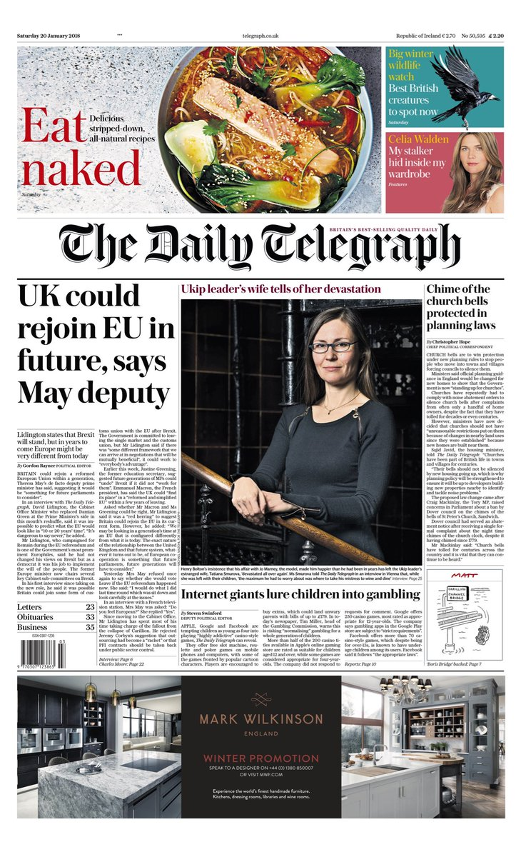 """Saturday's Daily TELEGRAPH: """"UK could rejoin EU in future, says May deputy"""" #bbcpapers #tomorrowspaperstoday (via @AllieHBNews) https://t.co/pjGXz19p3T"""