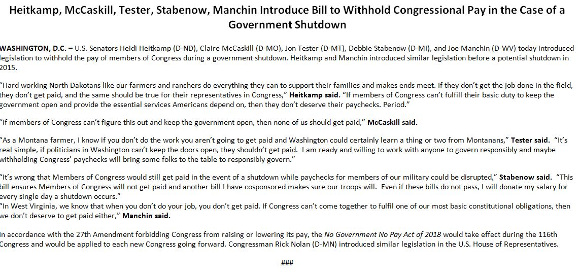 "JUST IN: Group of Senate Democrats introduce bill to withhold congressional pay during government shutdown:  ""If members of Congress can't figure this out and keep the government open, then none of us should get paid.""    — Sen. Claire McCaskill"