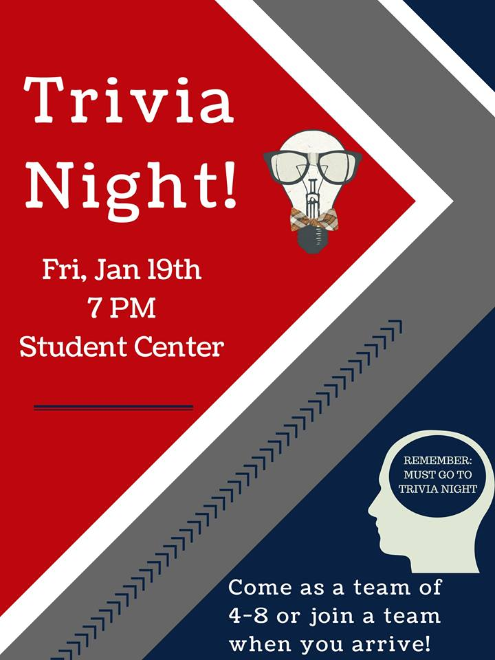 Students, think you know a lot?  Time to prove it!  Join our Student Life staff at Trivia Night TONIGHT at 7 pm in the Student Center! #HLGU #TriviaNight