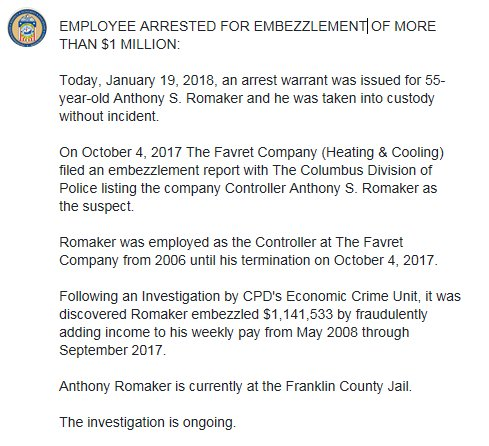 Columbus Ohio Police On Twitter Employee Arrested For