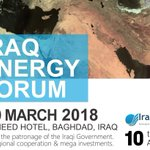 IEI confirms a new and final date for the 4th #IraqEnergy Forum to take place in #Baghdad-#Iraq on 28-29 March 2018, with high level participation, nationally & internationally. Theme: Towards #Energy #Investment & Regional Cooperation. #Oil #Gas #OOTT 👉 https://t.co/fyqPKOIN5A