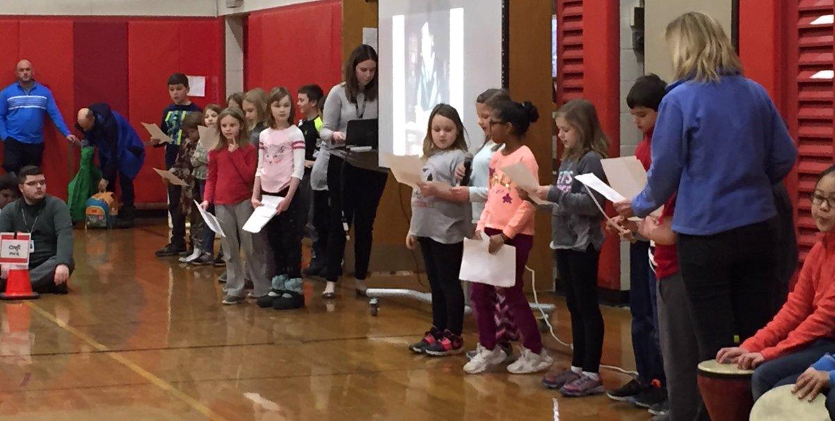 "Third graders reading ""Martin's Big Words"" at Shines today!"