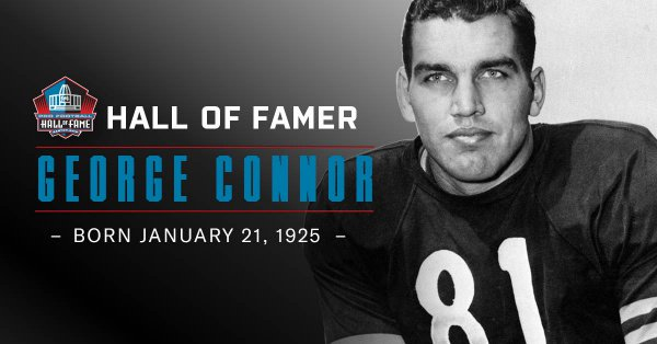 Hall of Famer George Connor was born OTD in 1925. Played 8 seasons for the @ChicagoBears. Selected to 4 Pro Bowls and the @NFL 1940s All-Decade Team. Two-way player, recognized as one of football's first linebackers.