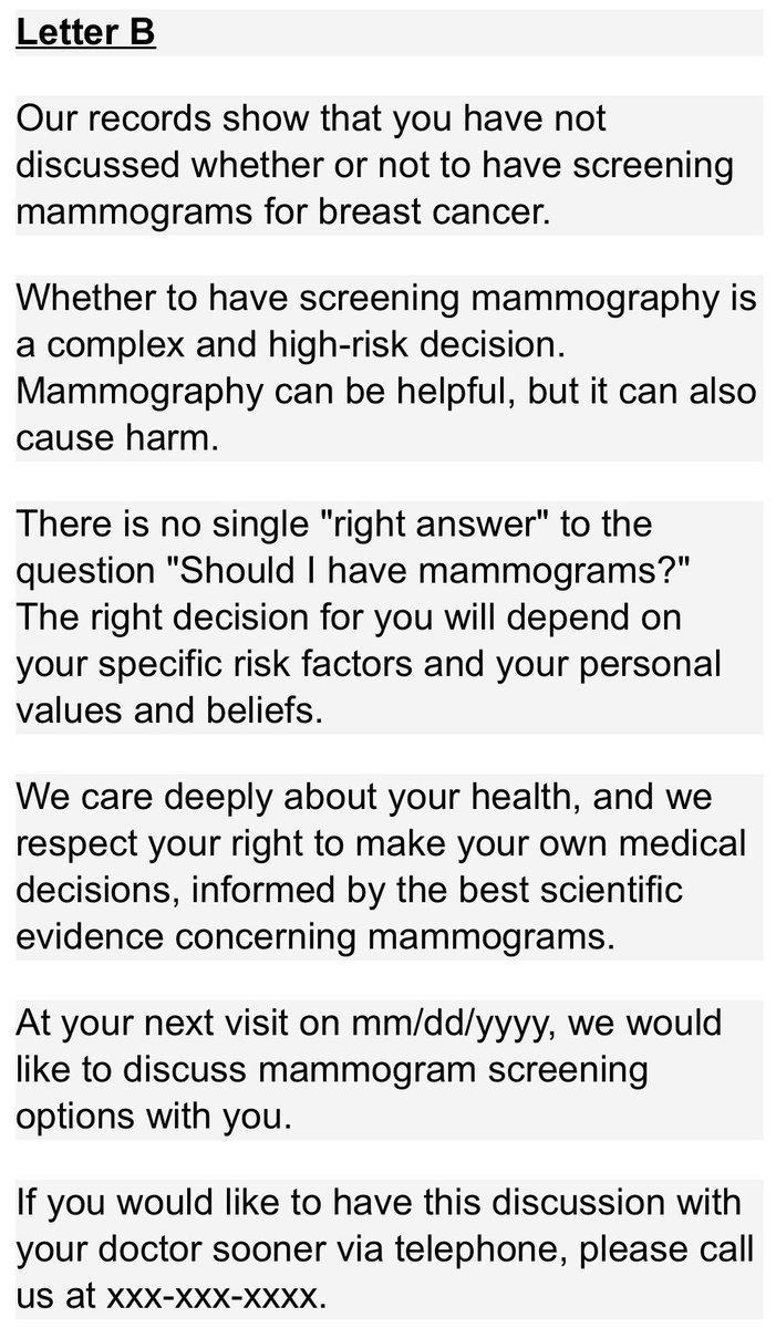 "Mark Friedberg on Twitter: ""Two patient reminder letters for breast cancer screening. Guess which one is widely used.… """
