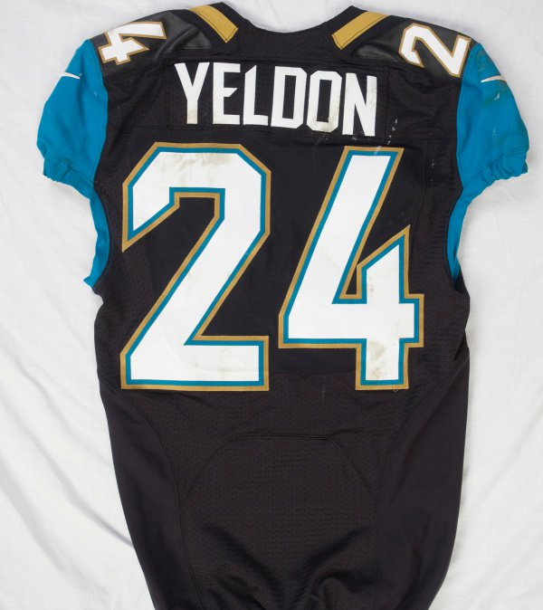 This jersey is from the 2015 @NFL season when @Jaguars RB @T_Yeldon rushed for 115 yards and 1 TD in the Jaguars 34-31 victory over Buffalo during the London Game Series at Wembley Stadium. #NFLPlayoffs