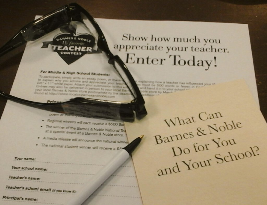 barnes noble bnholyoke twitter don t about the my favorite teacher contest to enter simply write an essay poem or thank you letter in support of your favorite teacher