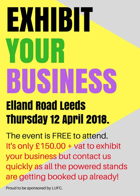 Calling ALL UK business owners. Come and exhibit at the iconic Elland Road Stadium.  https://www. eventbrite.co.uk/e/free-busines s-networking-event-at-elland-road-leeds-tickets-40162047766 &nbsp; … . #marketing #mktg #DigitalMarketing #SocialMedia #sales #entrepreneurs #innovation #careers #HR #HumanResources<br>http://pic.twitter.com/ORGLoowqDm