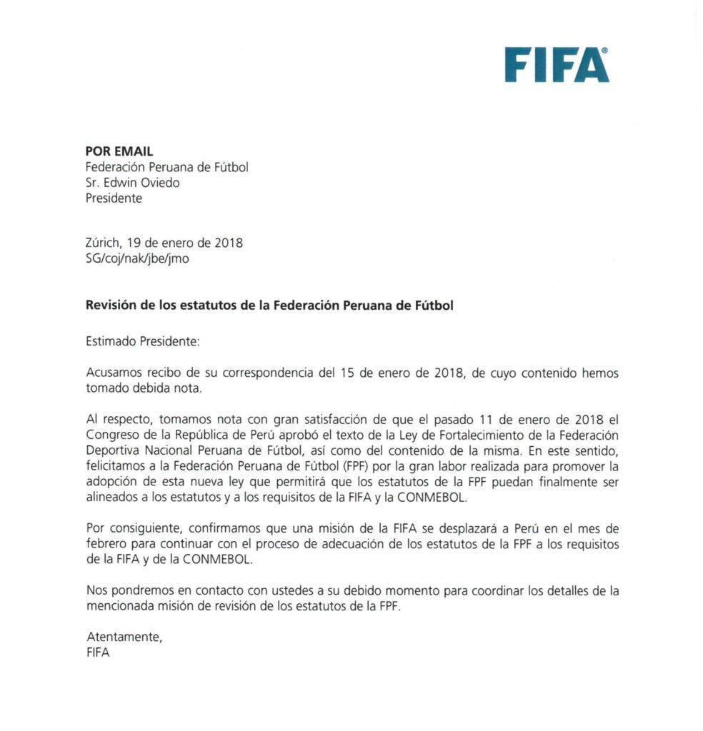 FIFA felicita a la FPF por aprobación de...