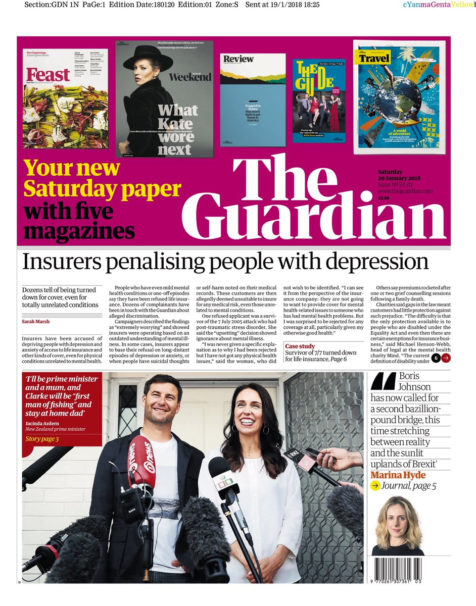 """Saturday's GUARDIAN: """"Insurers penalising people with depression"""" #bbcpapers #tomorrowspaperstoday via @AllieHBNews https://t.co/0Lj2d3dXuW"""