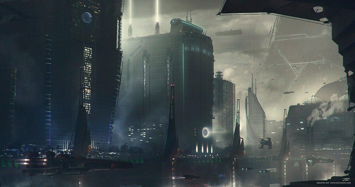 """The Capital Of Hope"" Artist: Sebastien Hue Visit: https://t.co/kb1mxMUM9U #scifi #future #city #cyberpunk #flying #dark #noir #fog #megacity #gsotd2018 See over 1400 fully sourced images: https://t.co/Eh4X3S6zCc"