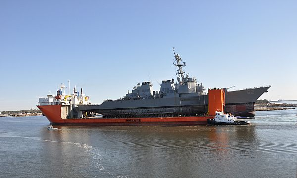 The USS Fitzgerald (DDG 62) arrived today in Pascagoula, Mississippi aboard the heavy lift transport MV Transshelf.  The ship will likely remain there until 2020 for repairs after last summer's deadly collision. (U.S. Navy photo by David L. Stoltz/Released)