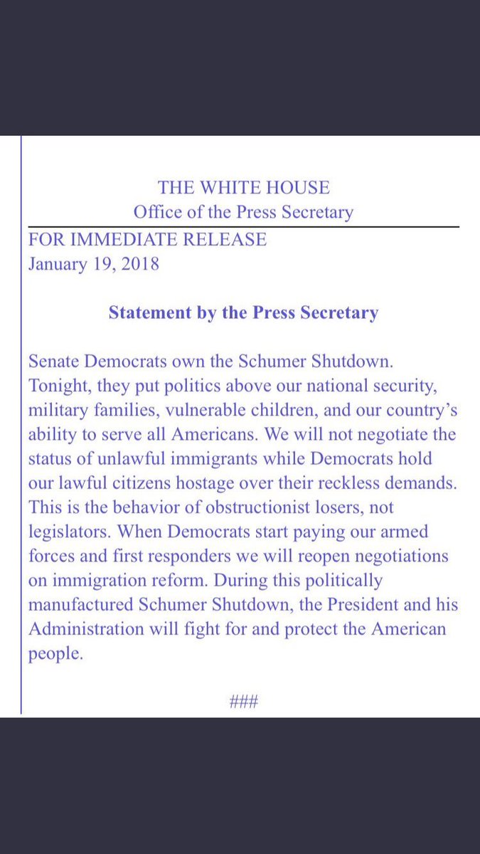 Official White House statement on government shutdown