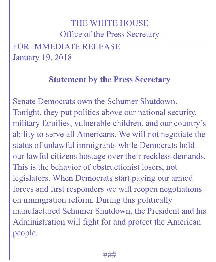 Official White House Statement After Government Shutdown:   ...Will not negotiate the status of DACA 'while Democrats hold our lawful citizens hostage over their reckless demands'