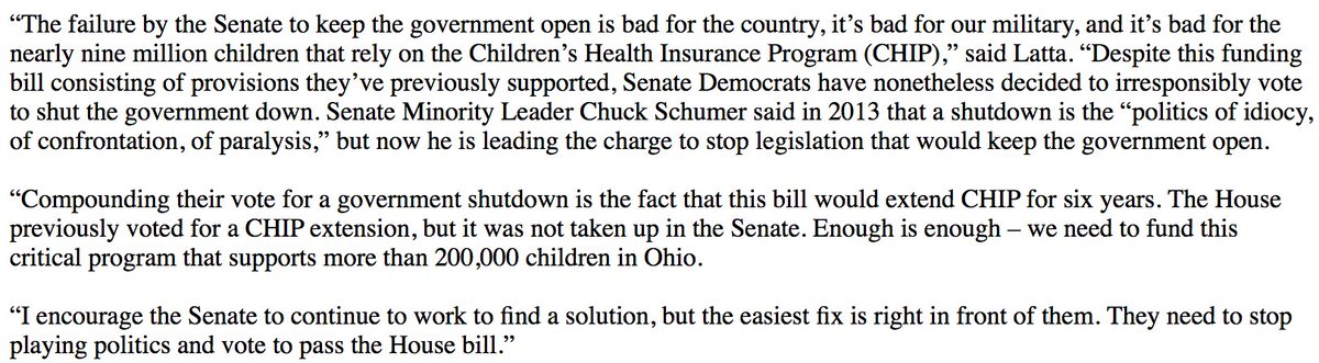 My statement on Senate Democrats' vote to shut down the government. #SchumerShutdown