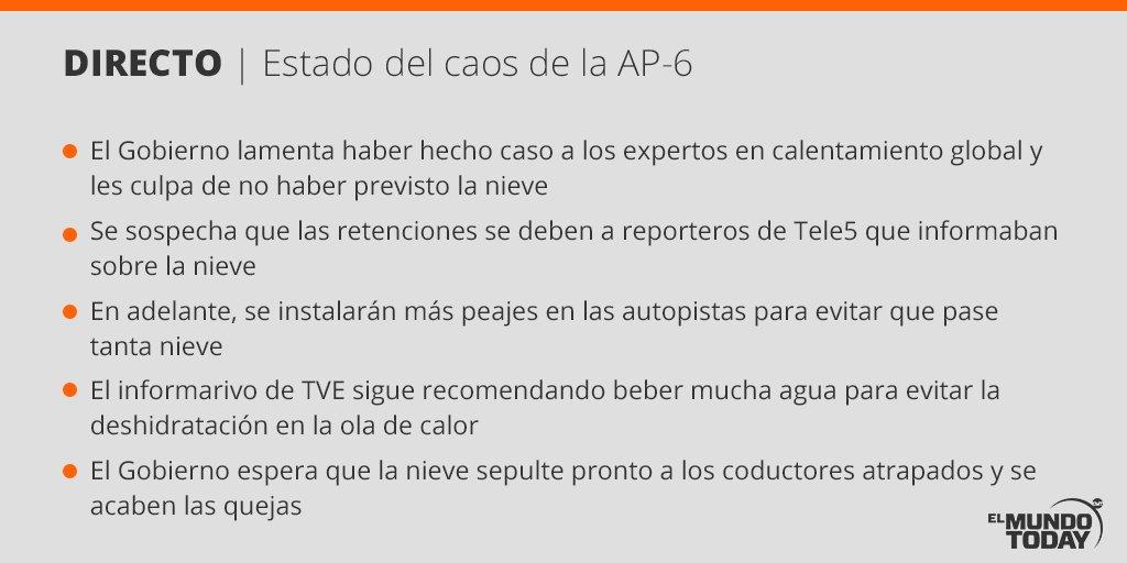RT @elmundotoday: Esto es lo que sabemos sobre el estado de la AP-6 ahora mismo https://t.co/44PJLWxTPK