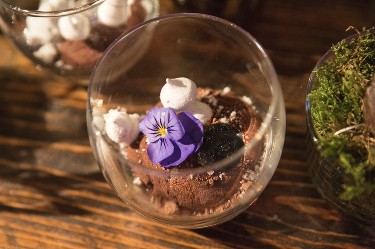 Rare Food On Twitter A Selection Of Terrarium Cupcakes Pots With A Fully Dressed Table Scape Including Moss Fern Edible Pebbles Terrarium Puddings Yoghurt Panna Cotta Chocolate Mousse Soil Pistachio M Cake