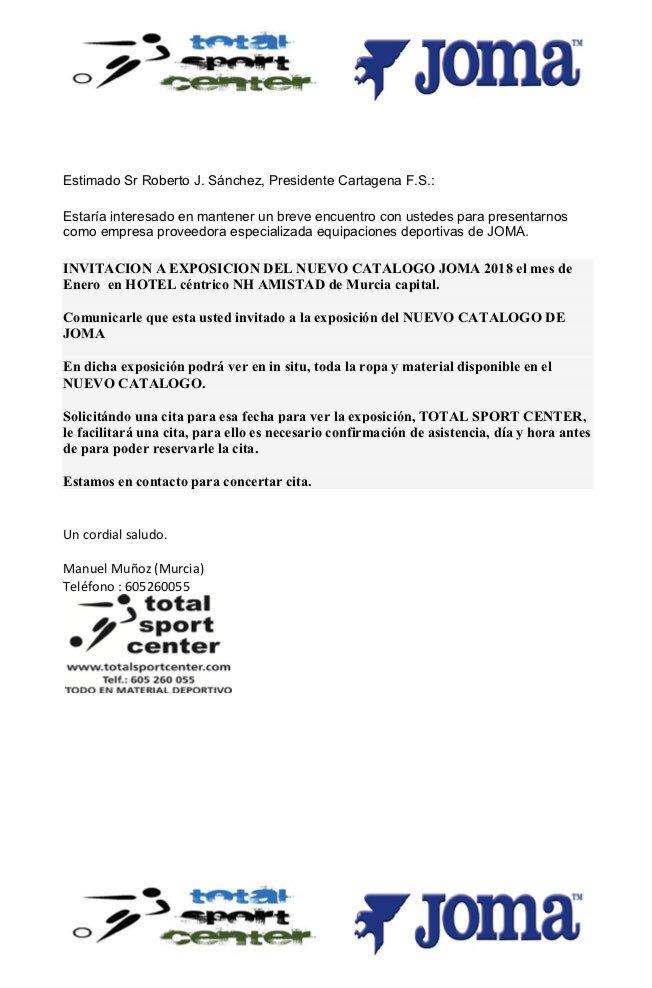 39e85dda319f1 Estimado Sr Presidente y o responsable del club  INVITACION A EXPOSICION  DEL NUEVO CATALOGO JOMA 2018 del 9 al 12 Enero en HOTEL céntrico NH AMISTAD  de ...