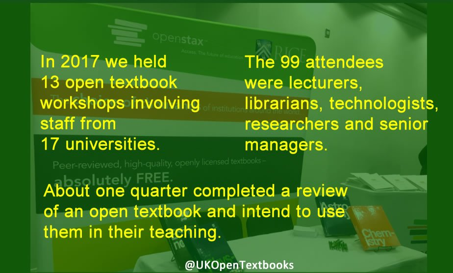Summary statistics of workshops: 13 workshops, 17 unis, 99 attendees, about a quarter have completed a textbook review.