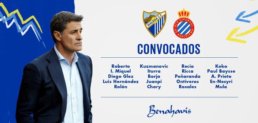 DTBStdVXcAAh0nk Convocatoria del Málaga para recibir al Espanyol - Comunio-Biwenger