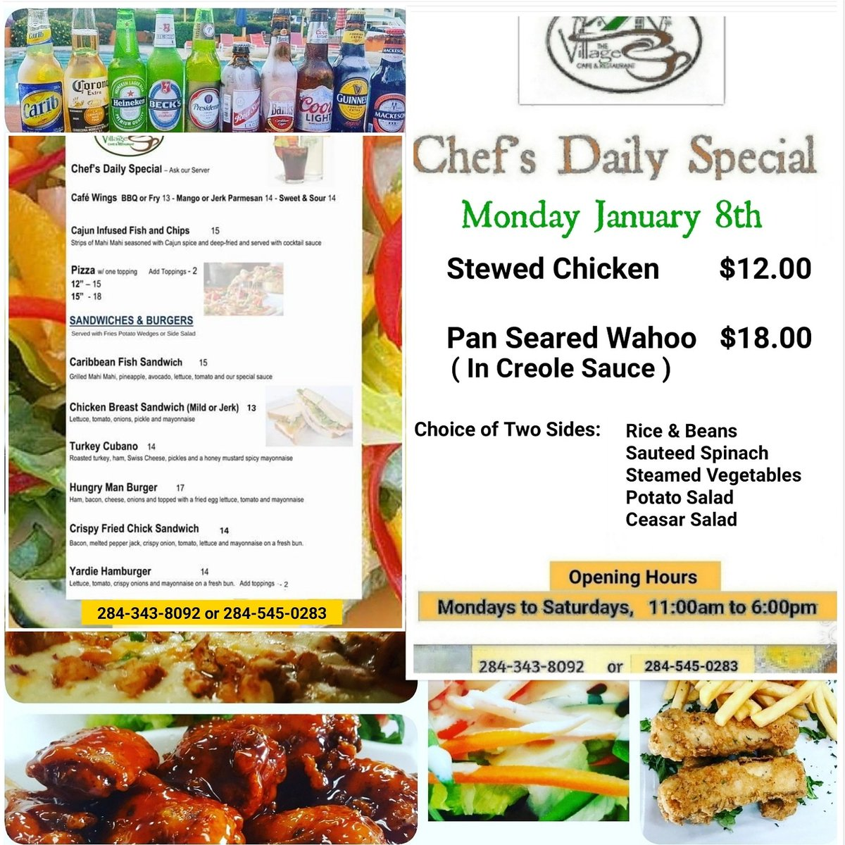 4afa9215c3be3b Here s our Chef s Daily Special for today and our TO-GO food menu. Drinks  are the coldest!  villagecafe  vgstrong  BVISTRONGpic.twitter.com pMAjc7o9xu