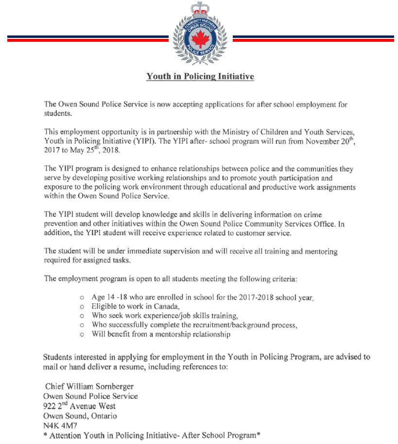 Owensoundpolice On Twitter Employment Opportunity With The