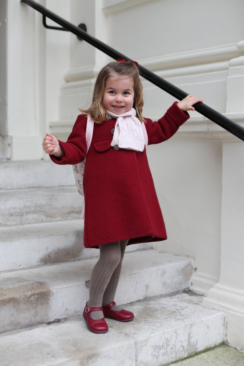 Princess Charlotte's first day at nursery marked by the release of two pictures taken by her mother, the Duchess of Cambridge