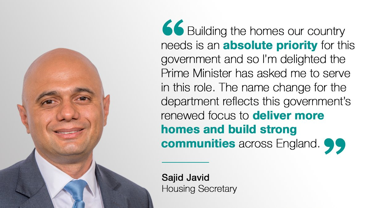 Building the homes our country needs is an absolute priority for this government and so I'm delighted the Prime Minister has asked me to serve in this role. The name change for the department reflects this government's renewed focus to deliver more homes and build strong communities across England.