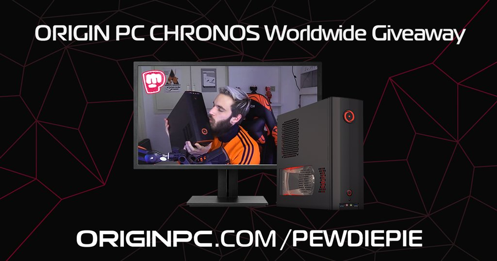 We're kicking off 2018 with a worldwide giveway of @pewdiepie's own CHRONOS desktop!   Enter for a chance to win the CHRONOS here:   #giveaway #worldwide #ORIGINPCFAMILY
