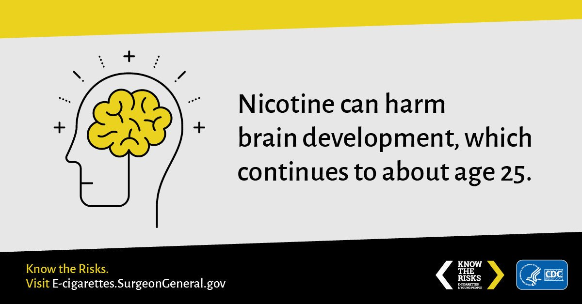 A8: Many e-cigarettes contain nicotine. The effects of nicotine exposure during youth can be long-lasting. #NDAFW
