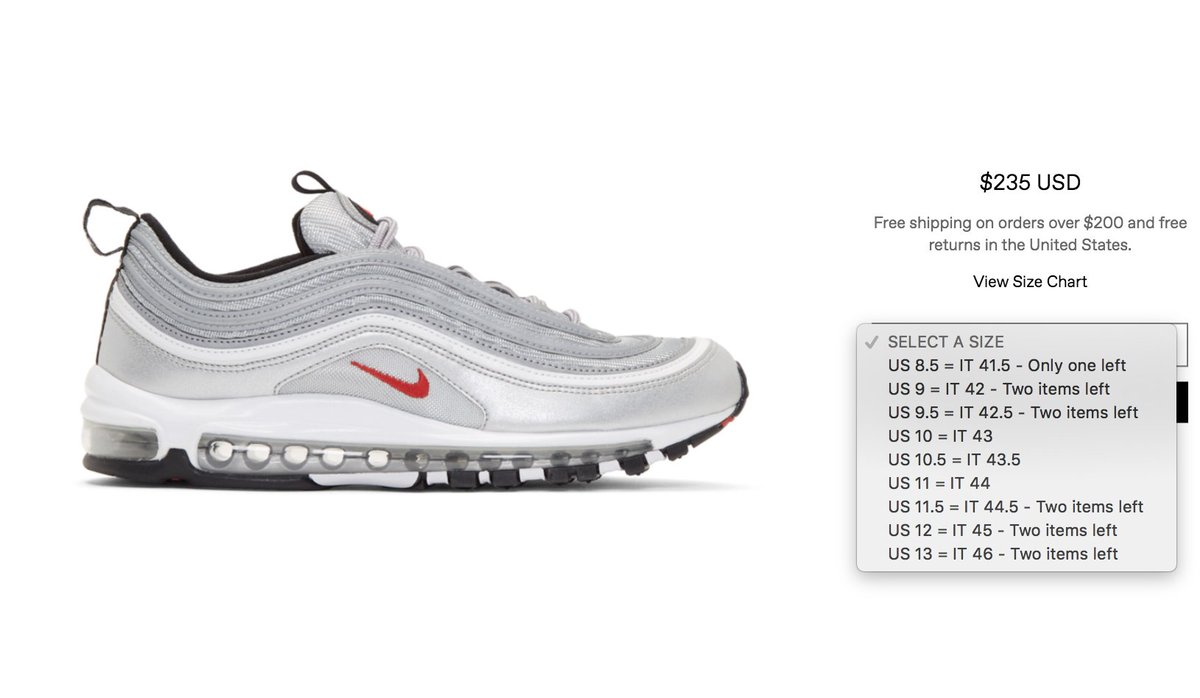 lowest price 1f021 8e156 ... good justfreshkicks on twitter live via ssense nike air max 97 og silver  bullet t.
