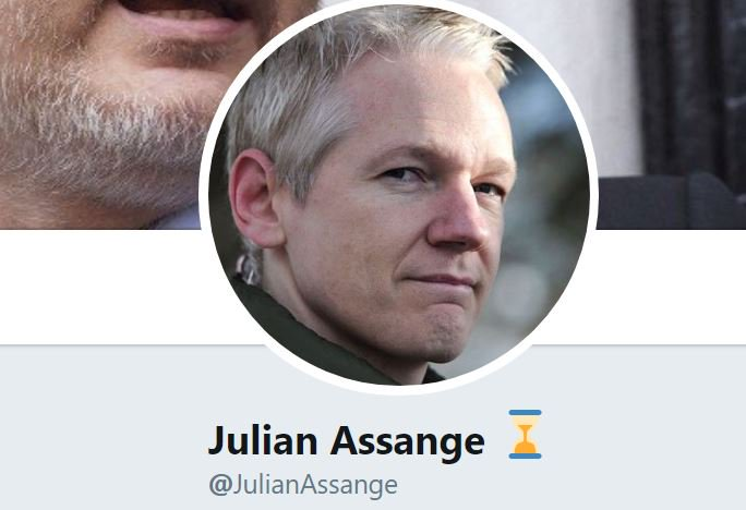 Julian Assange has added a sand timer to his Twitter name. Tick tock?