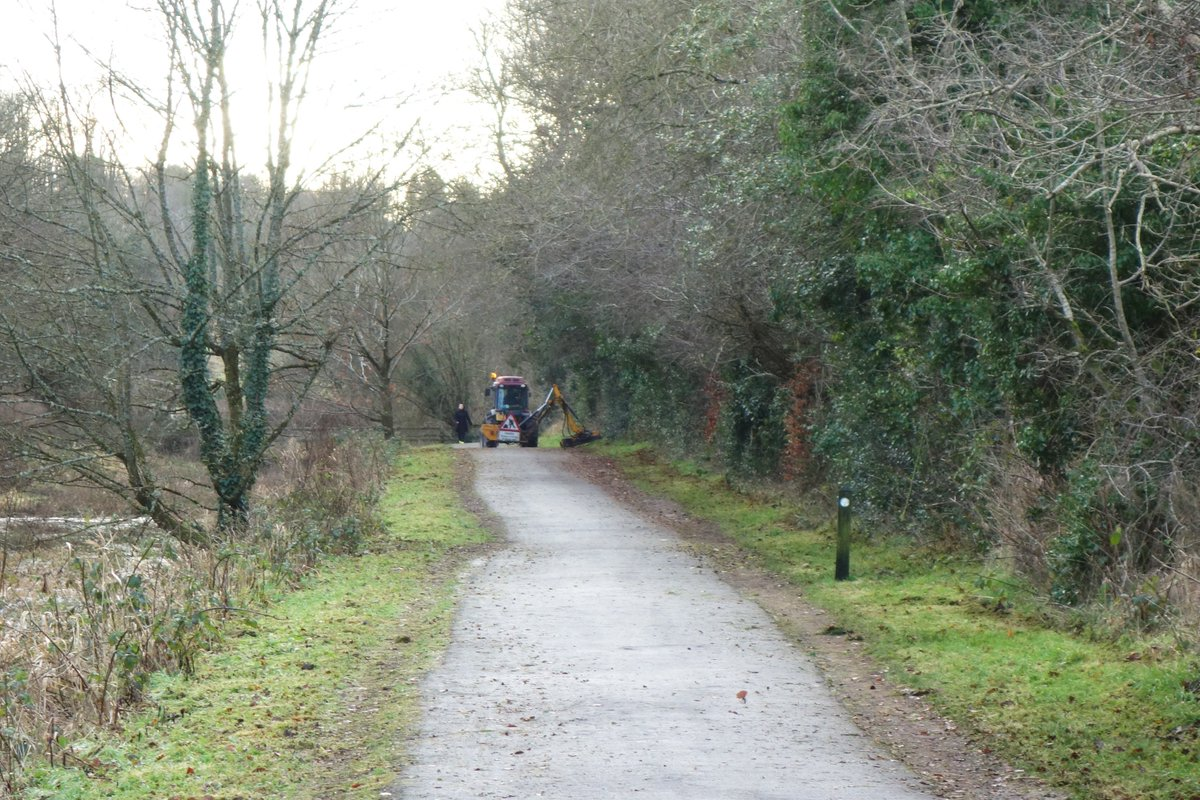 Strange to see grass verges being cut on the Lagan Towpath, Belfast in January! A funding priority?