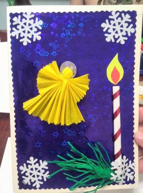 Рождественская открытка своими руками на конкурс в школу мастер класс