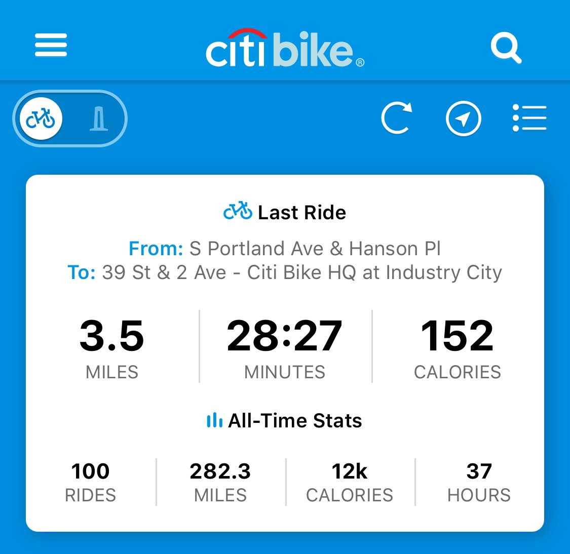 Decided to try @CitiBikeNYC for commuting in October and today I had my 100th ride