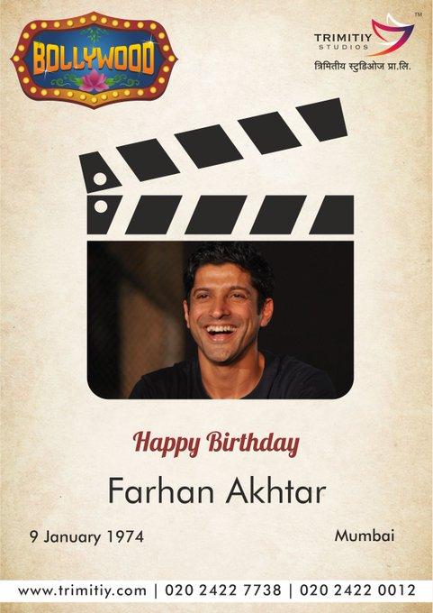 Trimitiy Studios wishing a Very Happy Birthday to Farhan Akhtar...