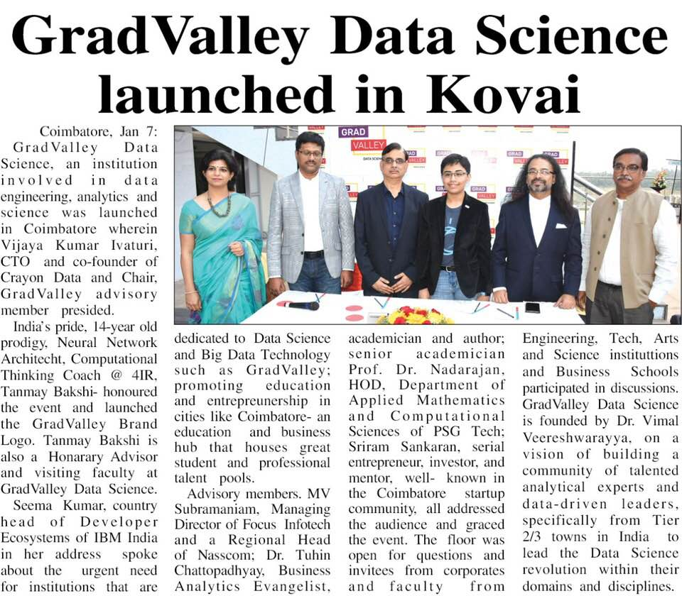 test Twitter Media - Our MD, MV Subramanian, at the launch of Grad Valley Data Science,  Coimbatore - for data engineering, analytics & science.  We strive  to share our extensive knowledge of the IT skillmap to further the  talent pipeline across various segments https://t.co/Ep43loqKuV