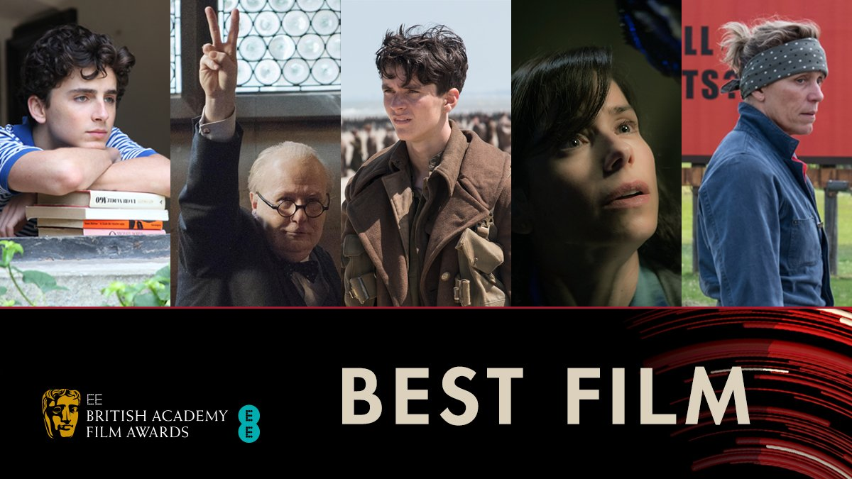 Nominated for Best Film 🎥🏆 Call Me By Your Name  Darkest Hour  Dunkirk  The Shape of Water  Three Billboards Outside Ebbing, Missouri #EEBAFTAs