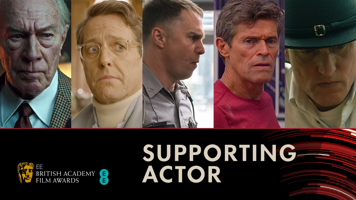 Nominated for Supporting Actor 👏 Christopher Plummer  Hugh Grant Sam Rockwell  Willem Dafoe  Woody Harrelson  #EEBAFTAs