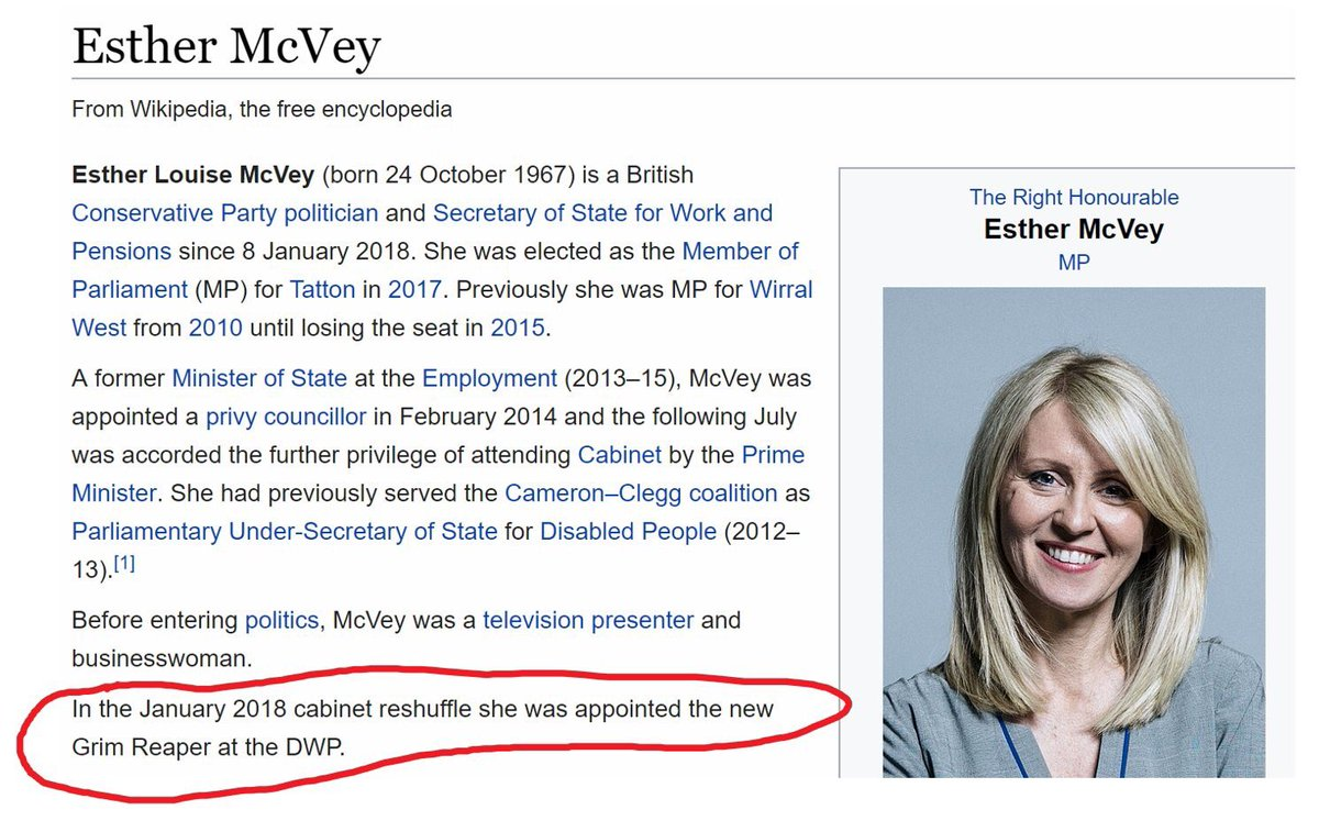 Image result for Esther McVey as the grim reaper
