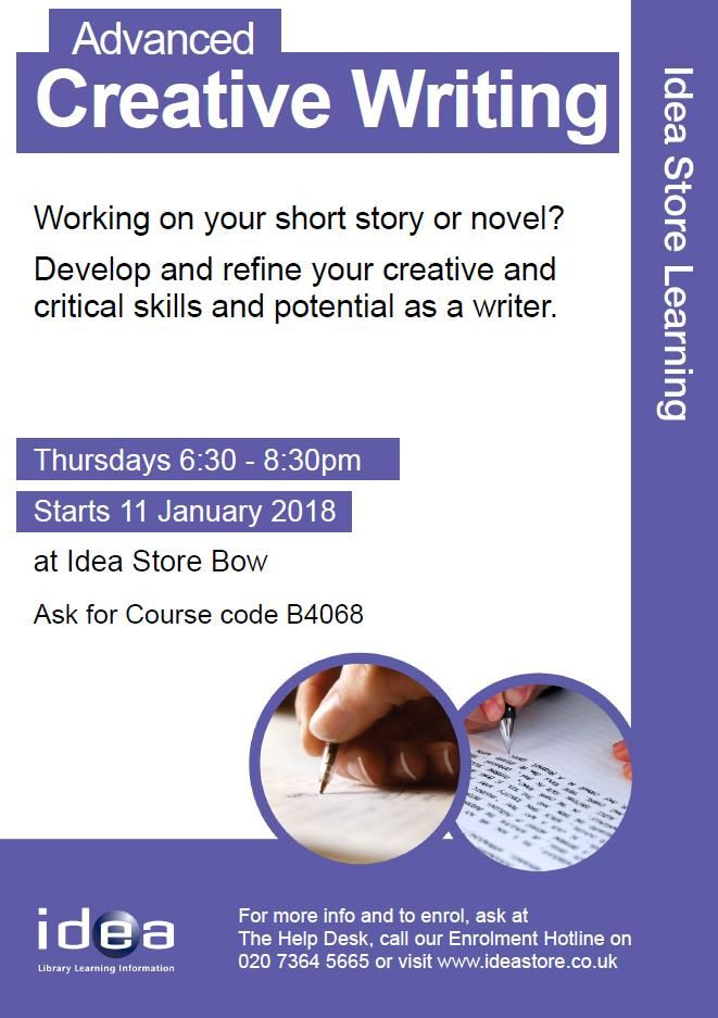 advanced creative writing Writing experiments thus allowing students to develop creative approaches to their project topics work will be posted on moodle for comment before the seminar in workshopping seminars each.