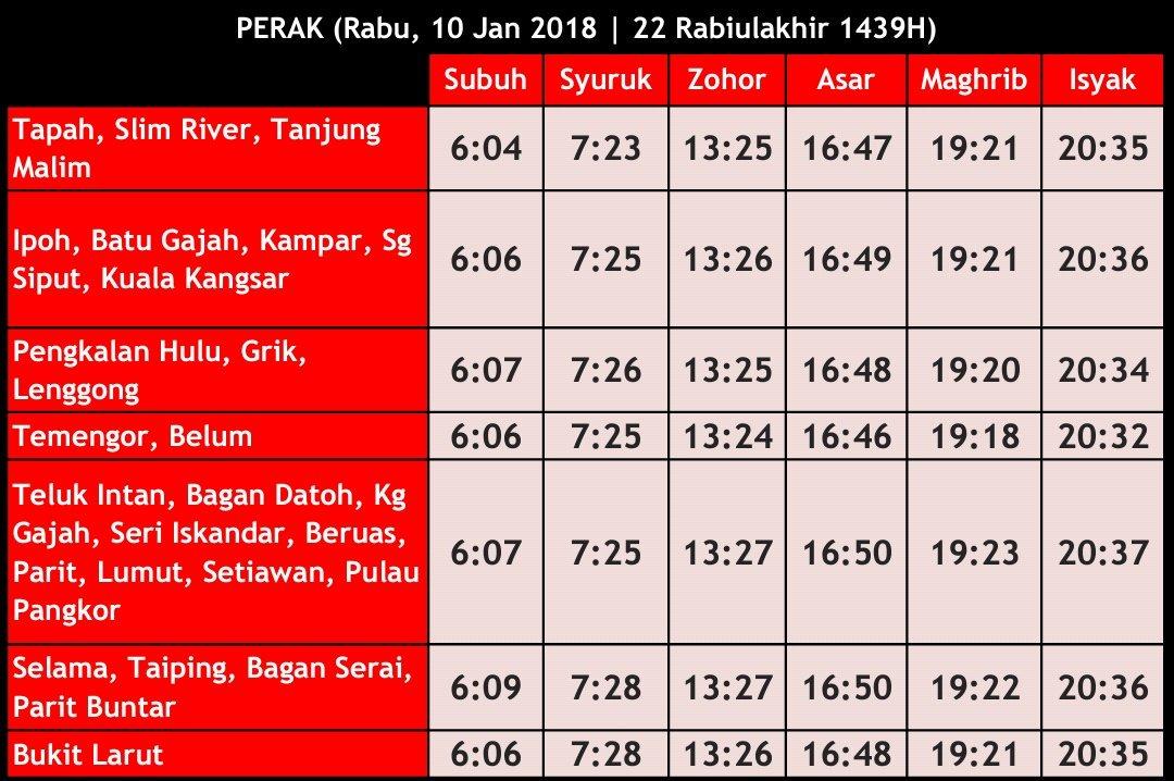 Waktu Solat Perak On Twitter Waktu Solat Fardu Perak Rabu 10 Jan 2018 22 Rabiulakhir 1439h Waktusolatperak