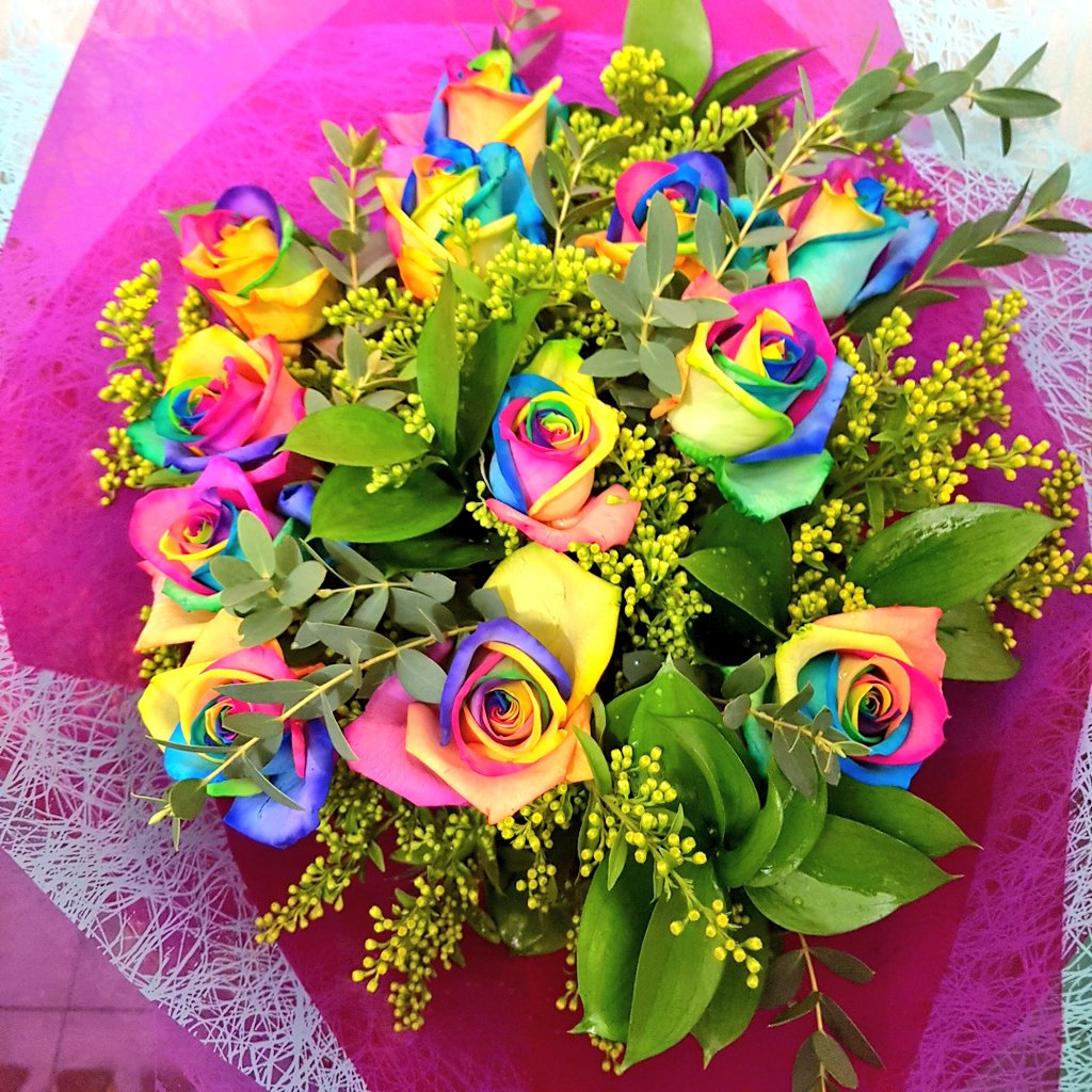 Fantasia Florists On Twitter Rainbow Rose Bouquet Going Out Tomorrow Not Our Fave Rose But Very Eye Catching What Do You Think Rainbow Flower Florist Newcastle Https T Co Tnih8dmehx